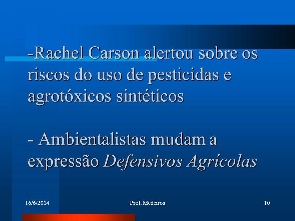 Rachel Carson alertou sobre os riscos do uso de pesticidas e agrotóxicos sintéticos - Ambientalistas mudam a expressão Defensivos Agrícolas