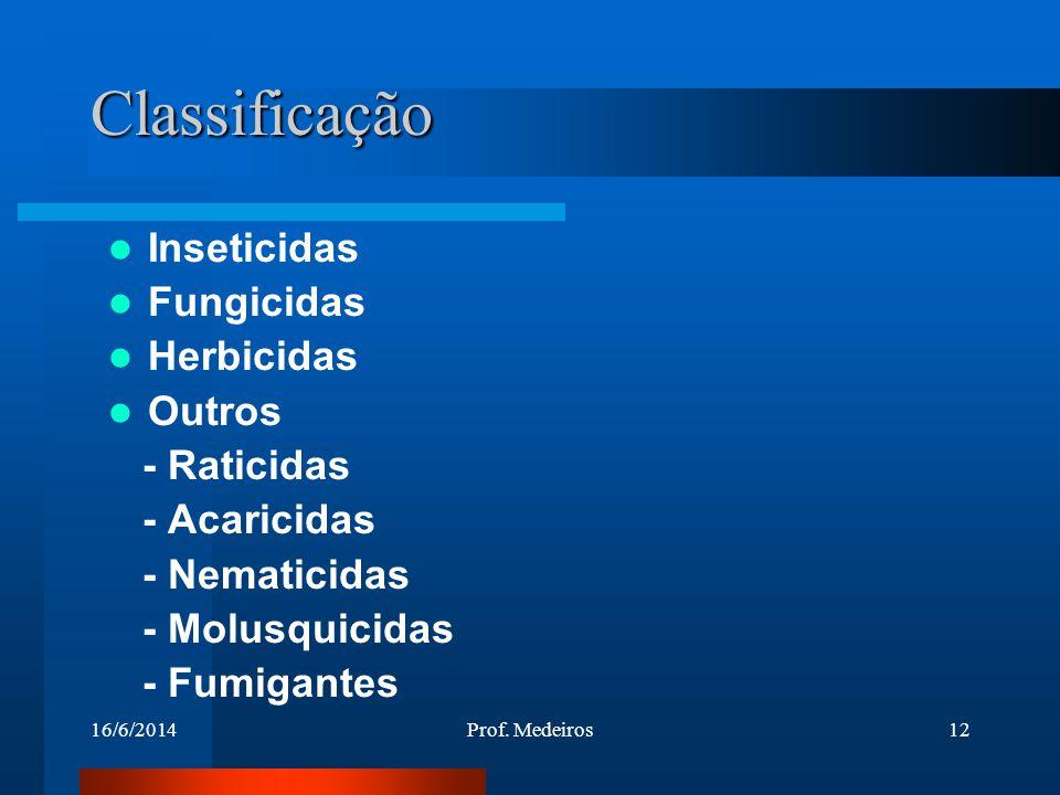 Classificação Inseticidas Fungicidas Herbicidas Outros - Raticidas