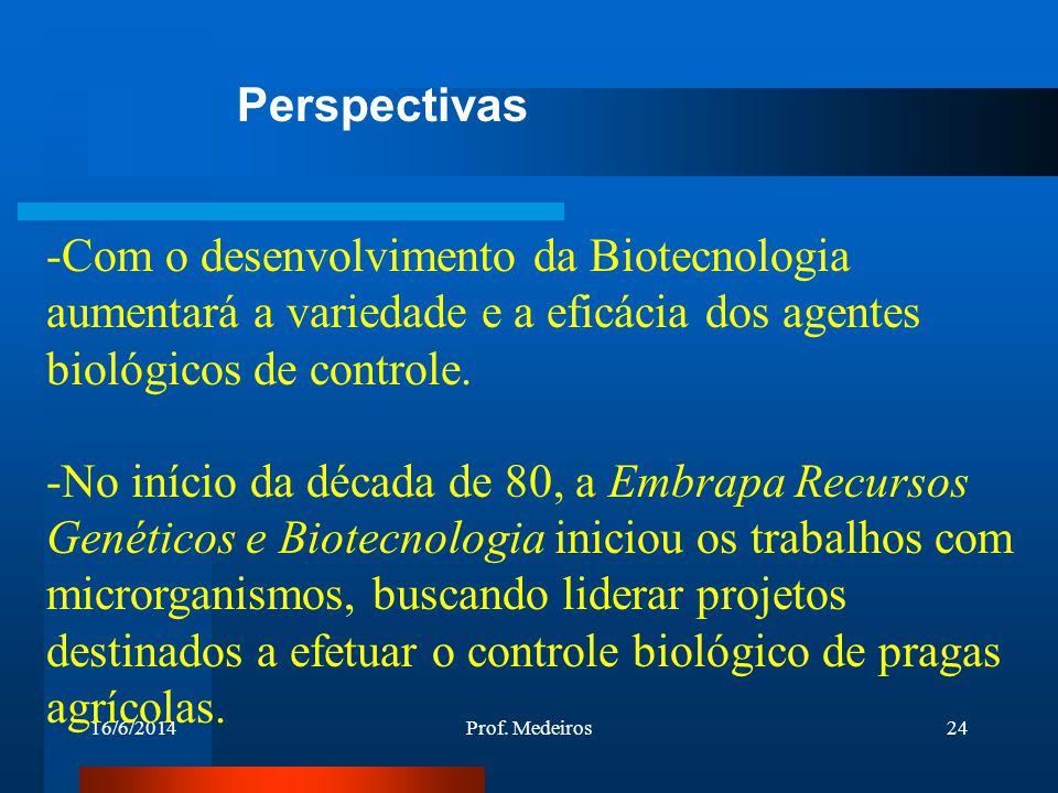Perspectivas Com o desenvolvimento da Biotecnologia aumentará a variedade e a eficácia dos agentes biológicos de controle.