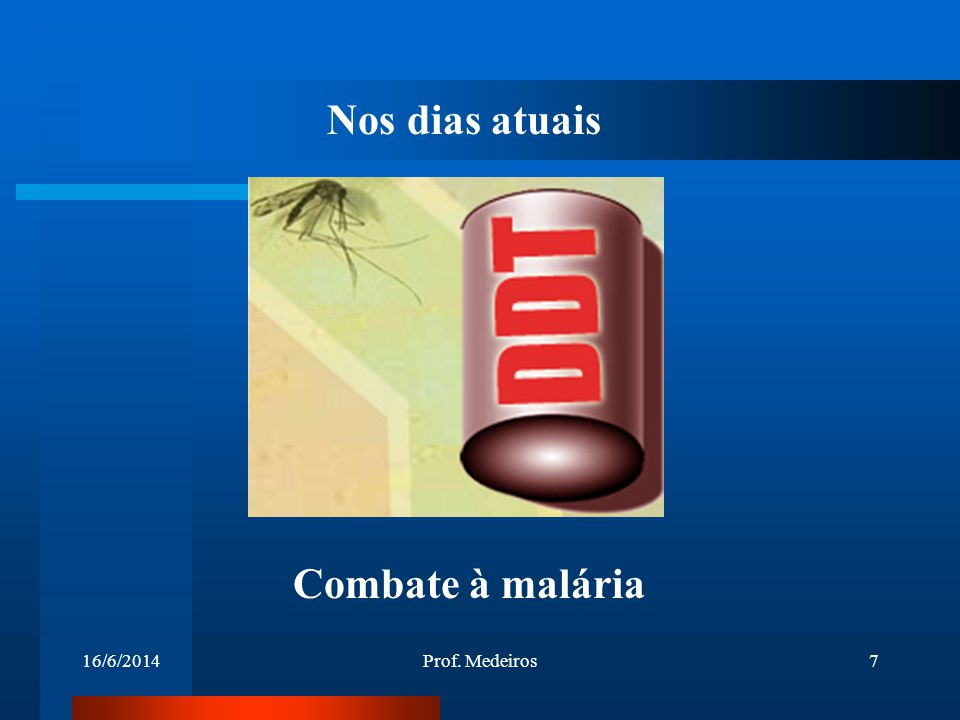 Nos dias atuais Combate à malária 02/04/2017 Prof. Medeiros