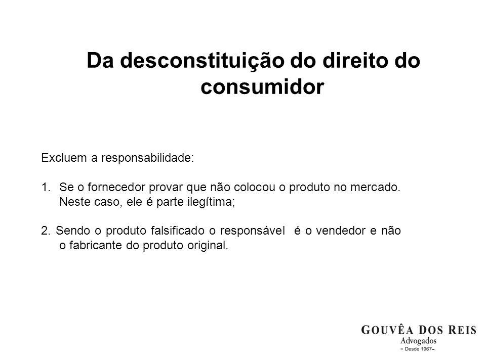 Da desconstituição do direito do consumidor