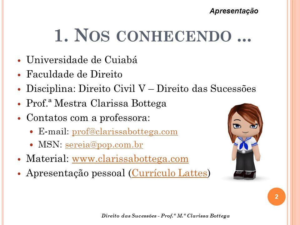 1. Nos conhecendo ... Universidade de Cuiabá Faculdade de Direito