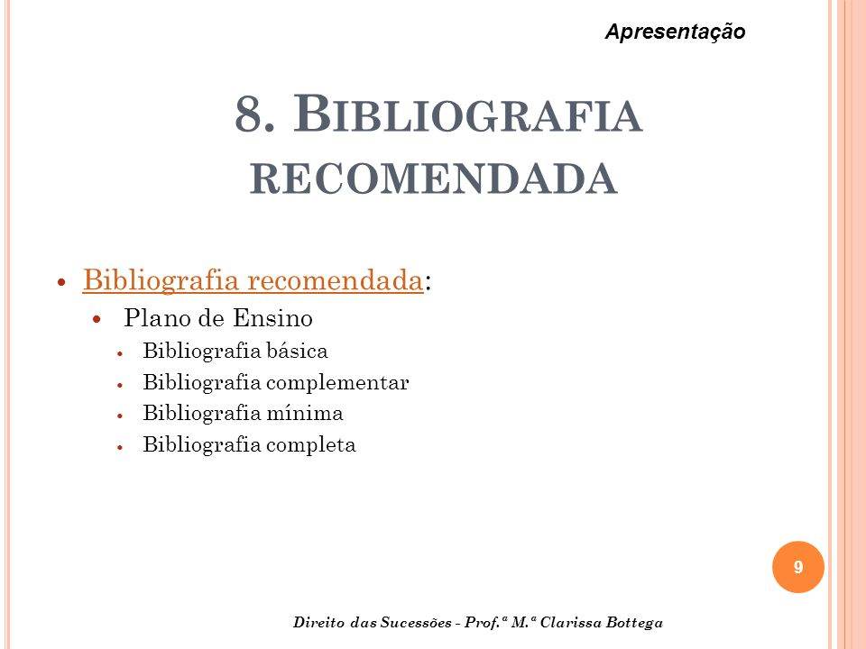 8. Bibliografia recomendada