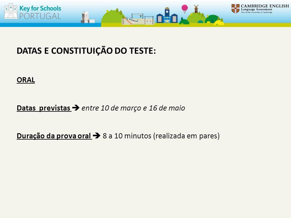 DATAS E CONSTITUIÇÃO DO TESTE: