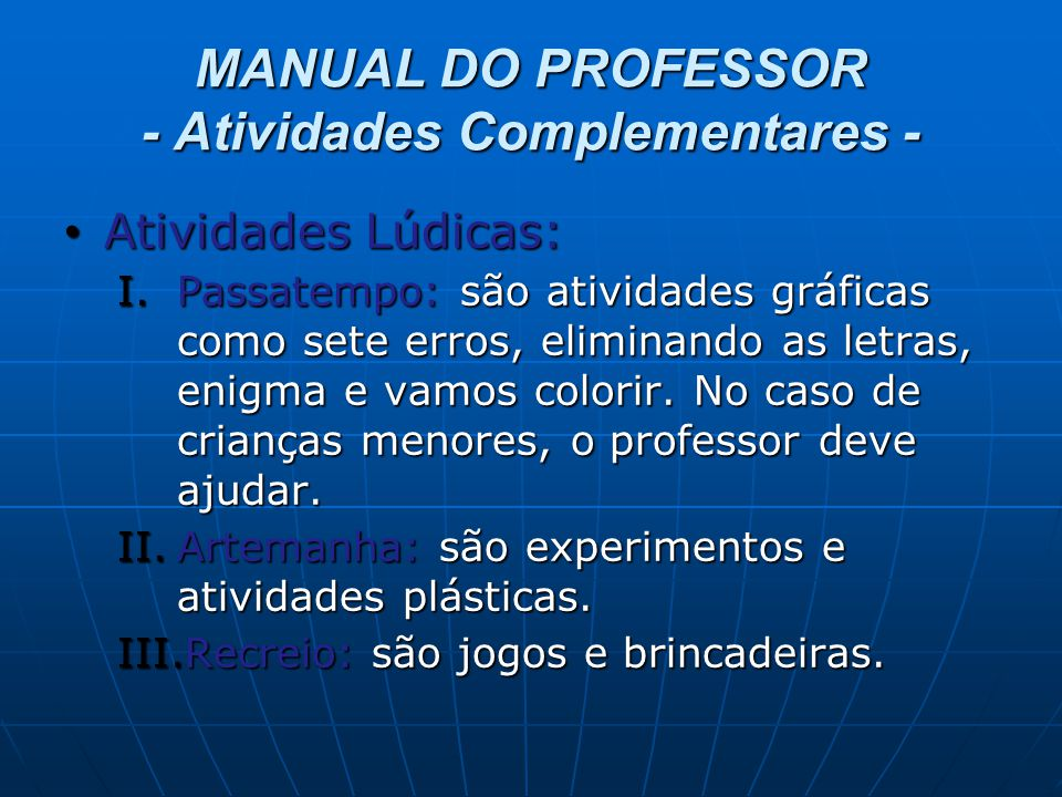 MANUAL DO PROFESSOR - Atividades Complementares -