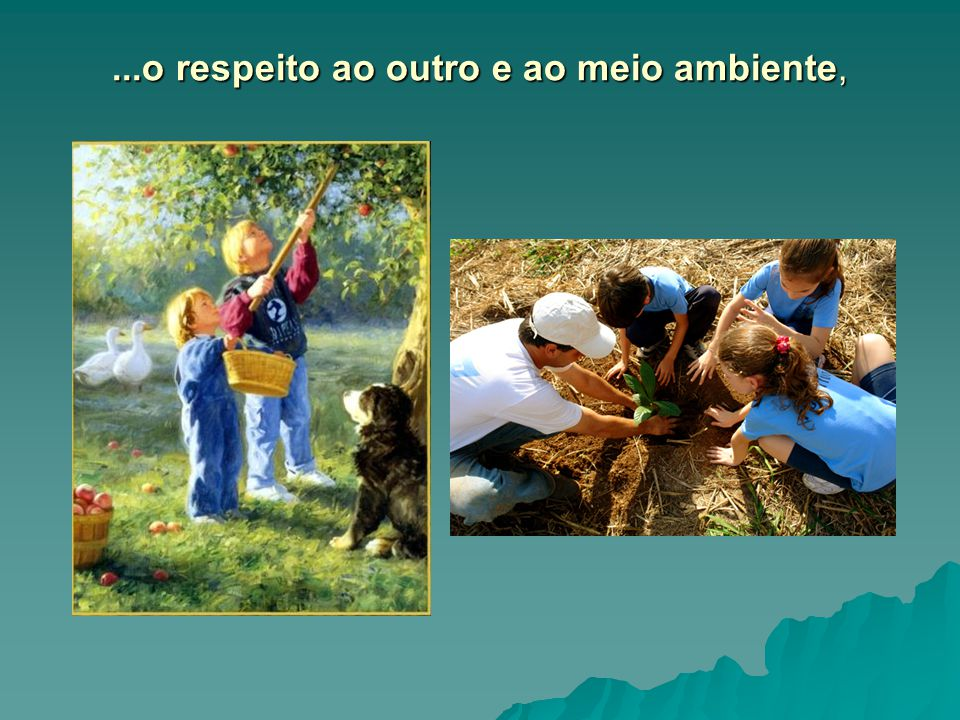 ...o respeito ao outro e ao meio ambiente,