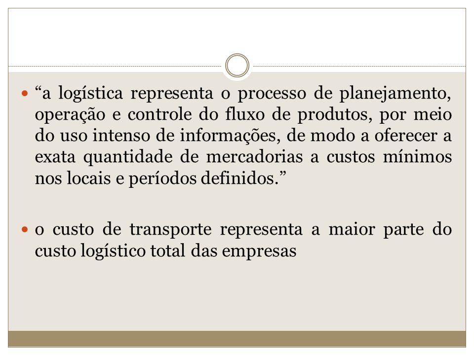 a logística representa o processo de planejamento, operação e controle do fluxo de produtos, por meio do uso intenso de informações, de modo a oferecer a exata quantidade de mercadorias a custos mínimos nos locais e períodos definidos.