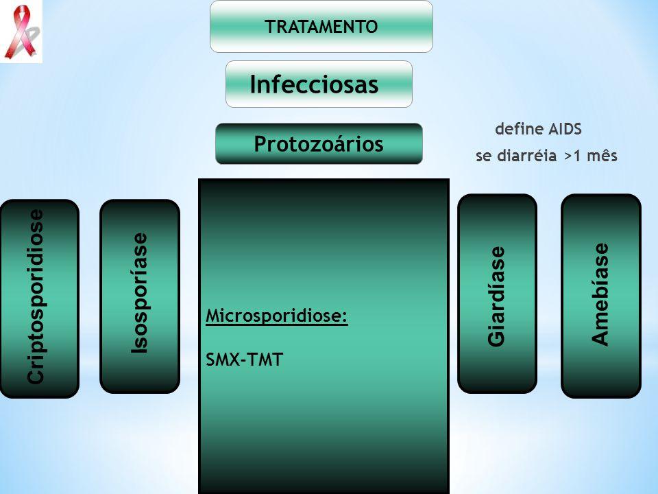 Infecciosas Protozoários Criptosporidiose Isosporíase Giardíase
