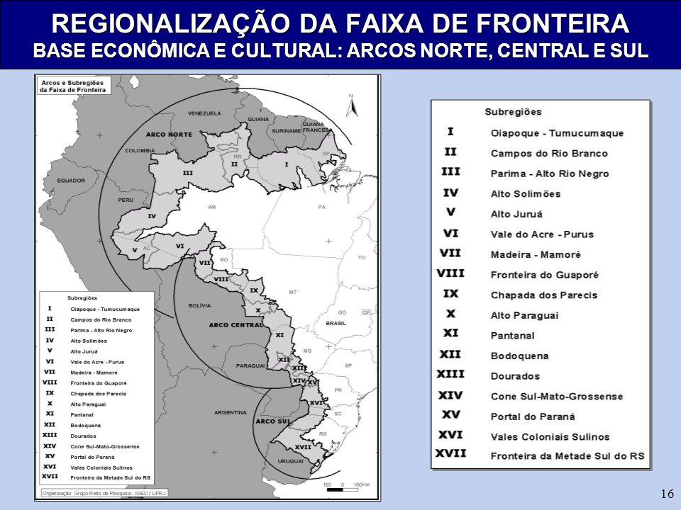 REGIONALIZAÇÃO DA FAIXA DE FRONTEIRA BASE ECONÔMICA E CULTURAL: ARCOS NORTE, CENTRAL E SUL