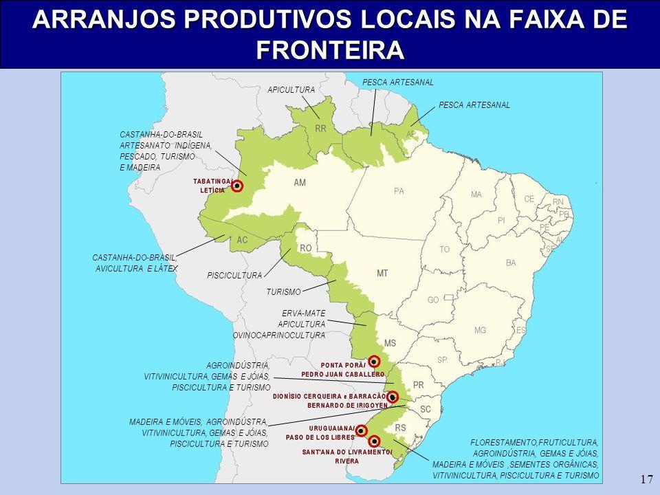 ARRANJOS PRODUTIVOS LOCAIS NA FAIXA DE FRONTEIRA