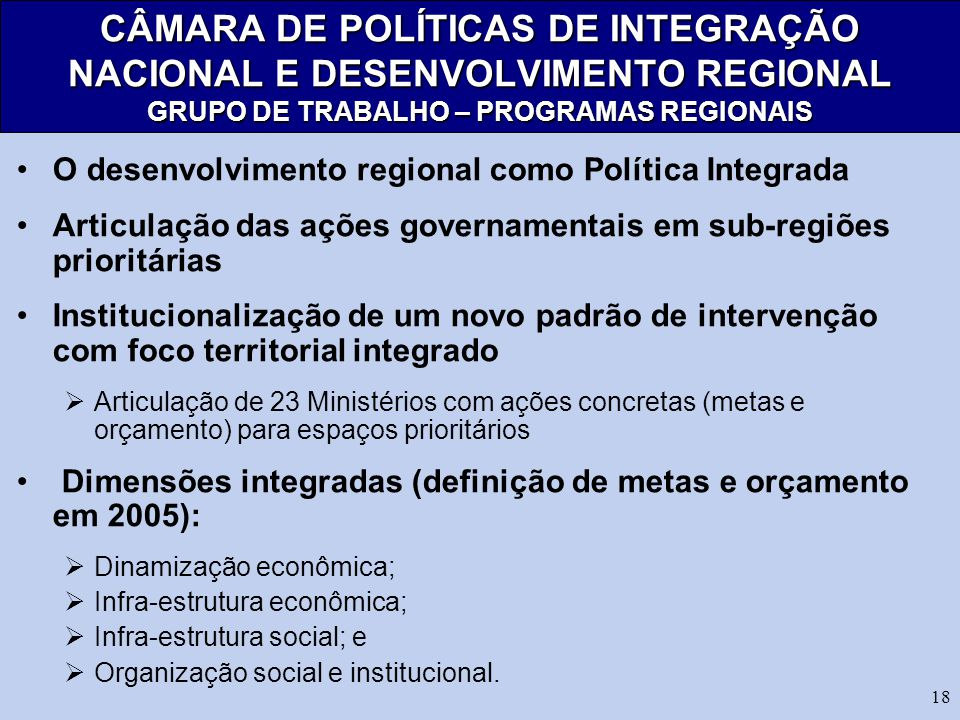 CÂMARA DE POLÍTICAS DE INTEGRAÇÃO NACIONAL E DESENVOLVIMENTO REGIONAL GRUPO DE TRABALHO – PROGRAMAS REGIONAIS