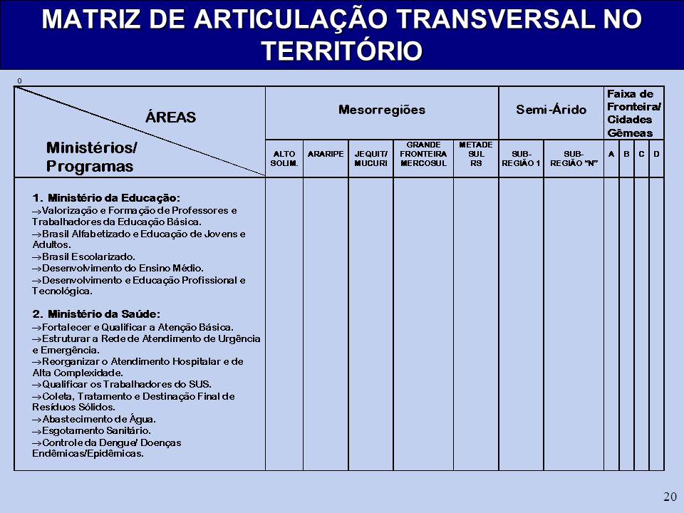 MATRIZ DE ARTICULAÇÃO TRANSVERSAL NO TERRITÓRIO