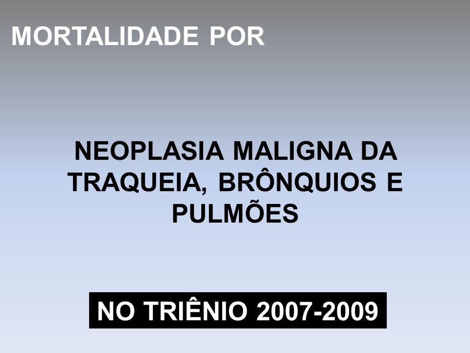 NEOPLASIA MALIGNA DA TRAQUEIA, BRÔNQUIOS E PULMÕES