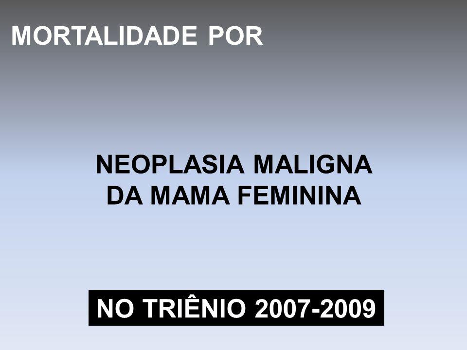 MORTALIDADE POR NEOPLASIA MALIGNA DA MAMA FEMININA NO TRIÊNIO 2007-2009
