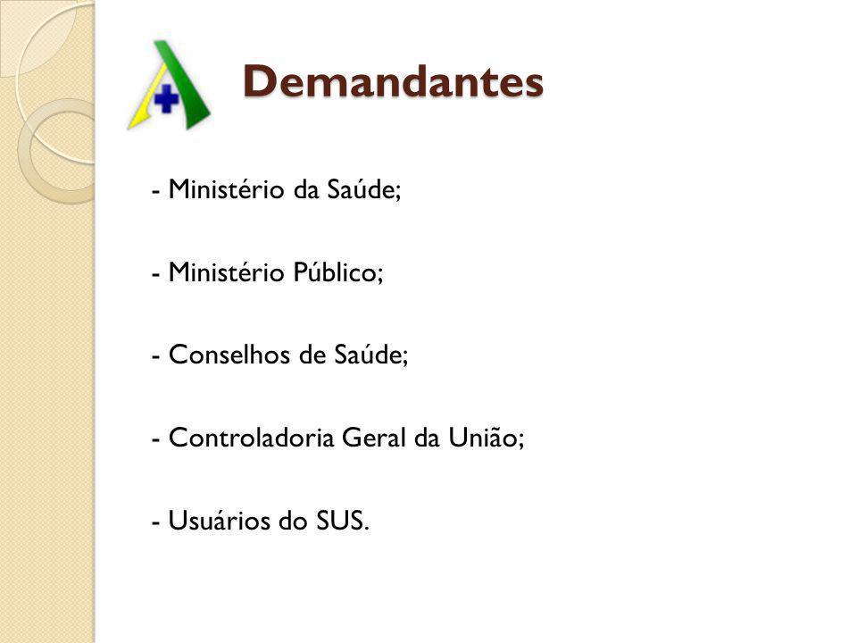 Demandantes - Ministério da Saúde; - Ministério Público;