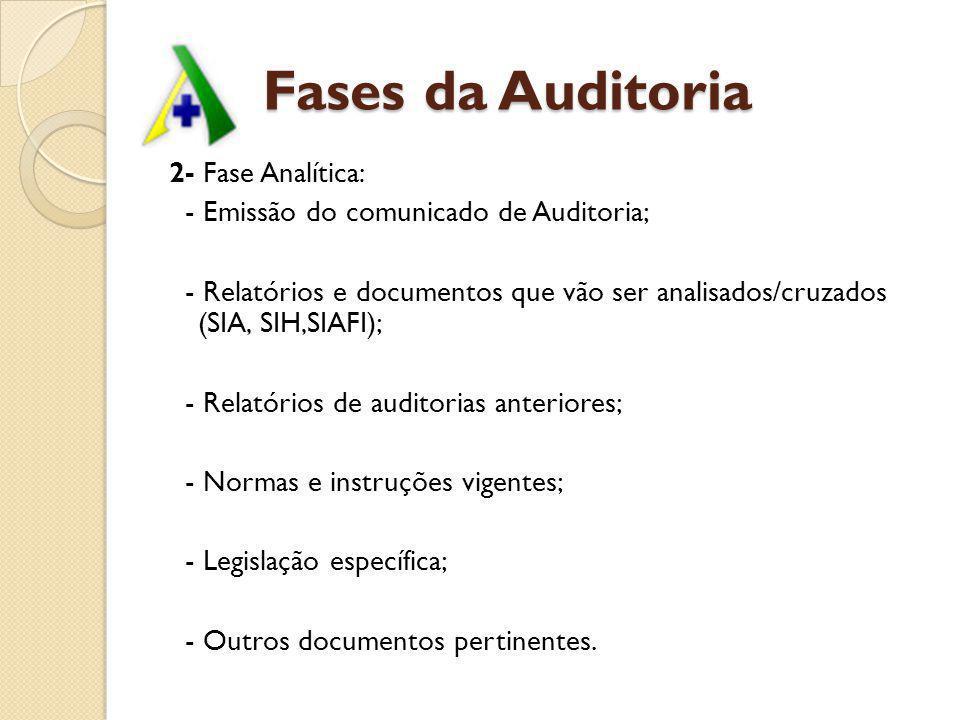 Fases da Auditoria 2- Fase Analítica: