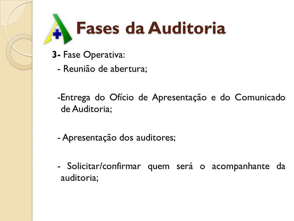 Fases da Auditoria 3- Fase Operativa: - Reunião de abertura;