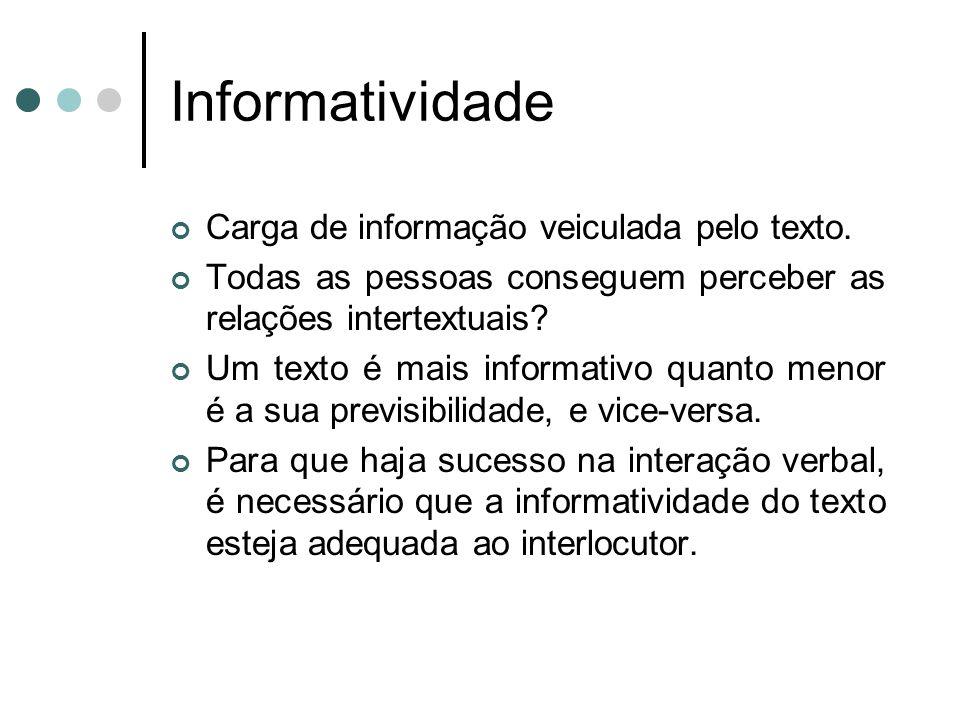 Informatividade Carga de informação veiculada pelo texto.