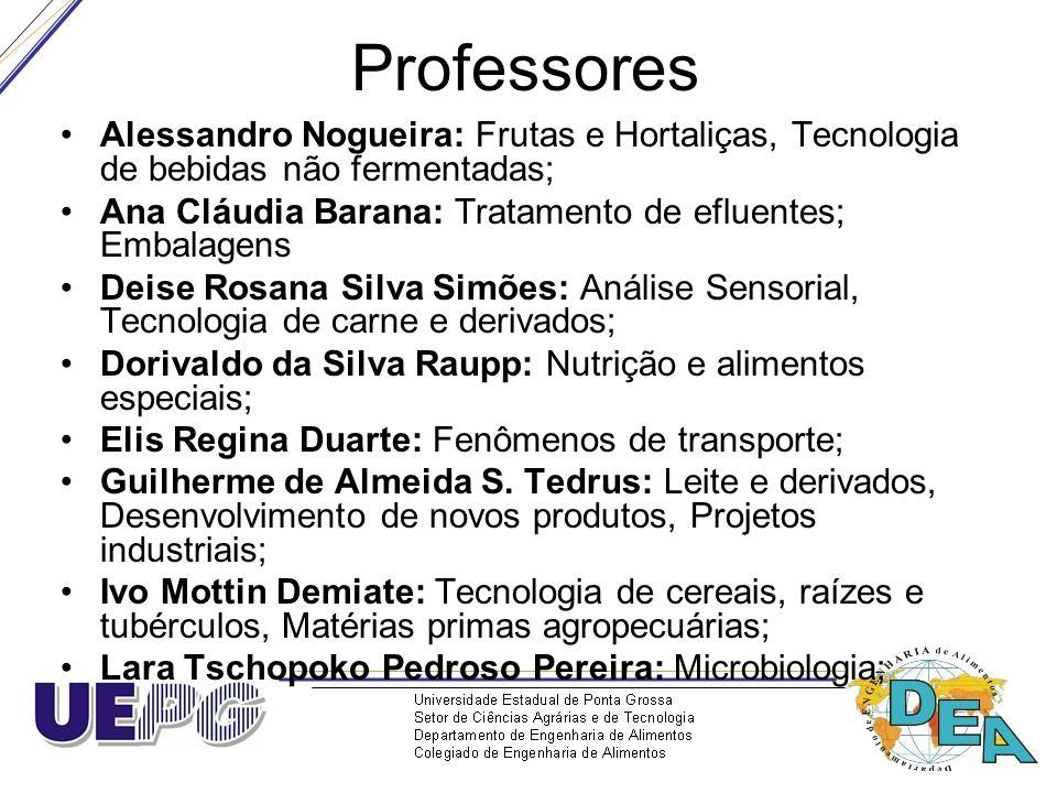 Professores Alessandro Nogueira: Frutas e Hortaliças, Tecnologia de bebidas não fermentadas; Ana Cláudia Barana: Tratamento de efluentes; Embalagens.