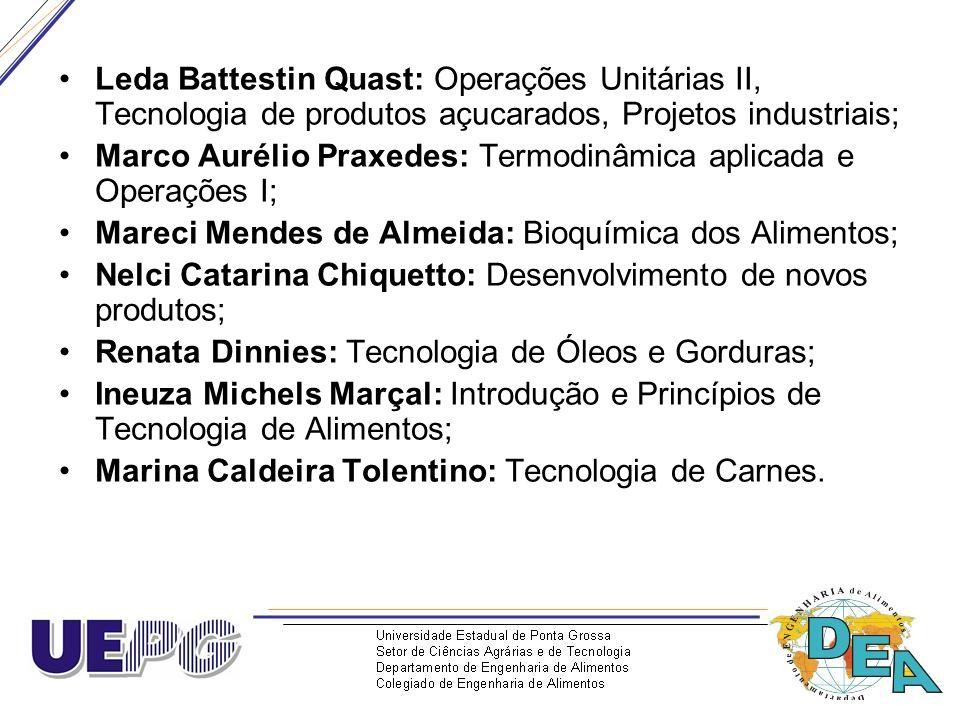 Leda Battestin Quast: Operações Unitárias II, Tecnologia de produtos açucarados, Projetos industriais;