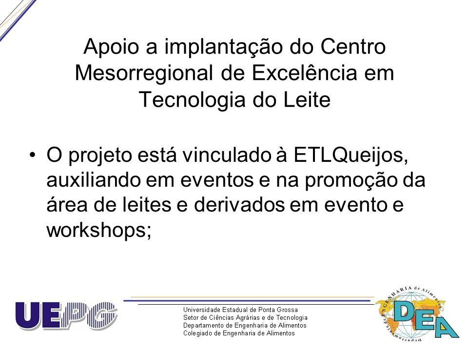 Apoio a implantação do Centro Mesorregional de Excelência em Tecnologia do Leite