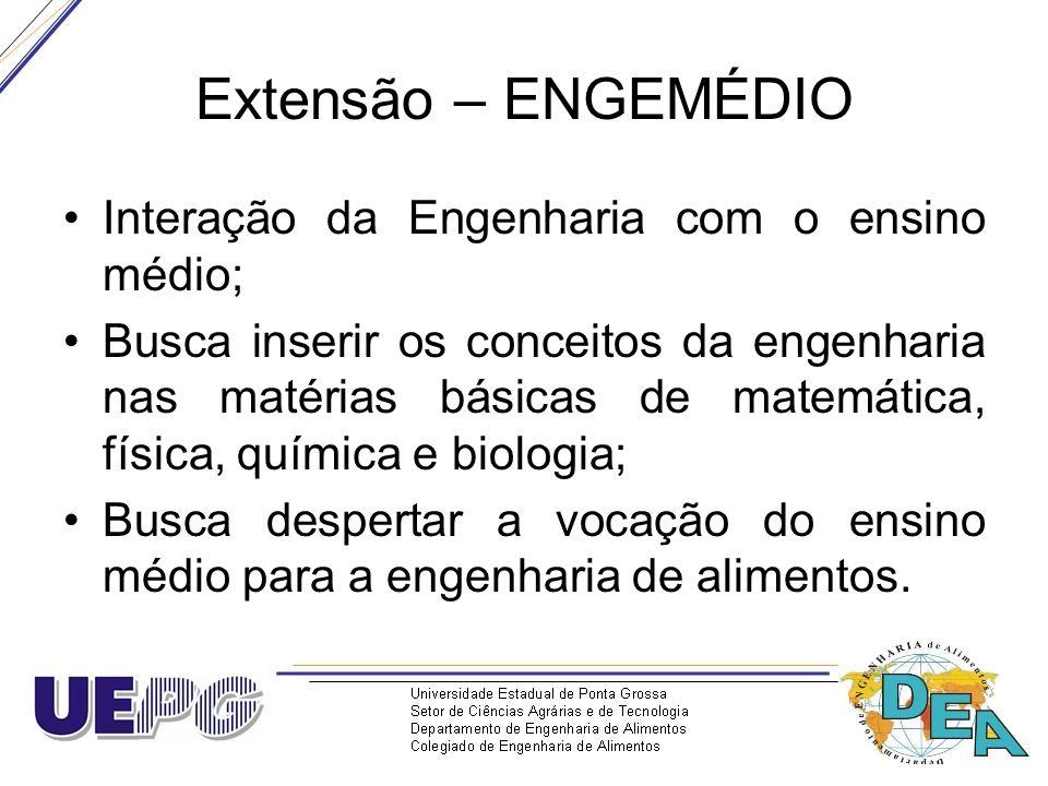 Extensão – ENGEMÉDIO Interação da Engenharia com o ensino médio;