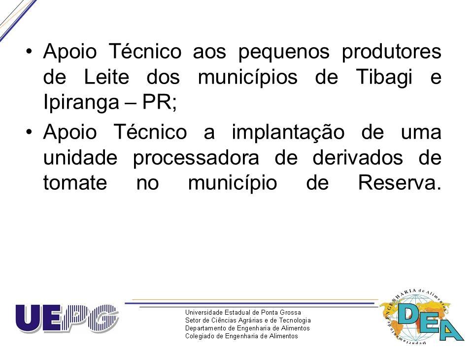 Apoio Técnico aos pequenos produtores de Leite dos municípios de Tibagi e Ipiranga – PR;