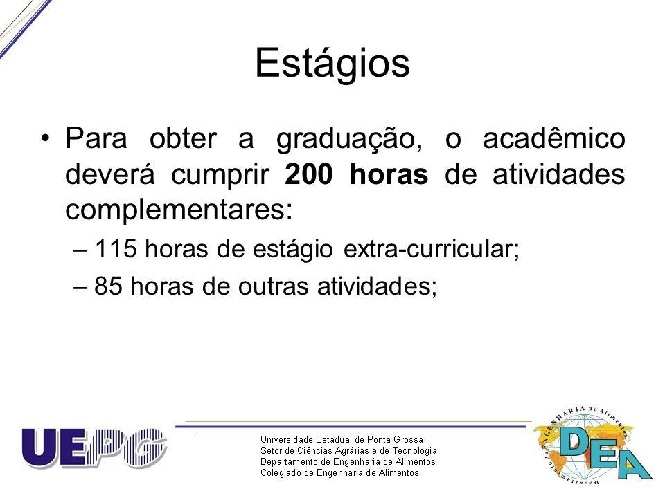 Estágios Para obter a graduação, o acadêmico deverá cumprir 200 horas de atividades complementares:
