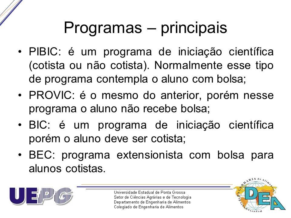Programas – principais