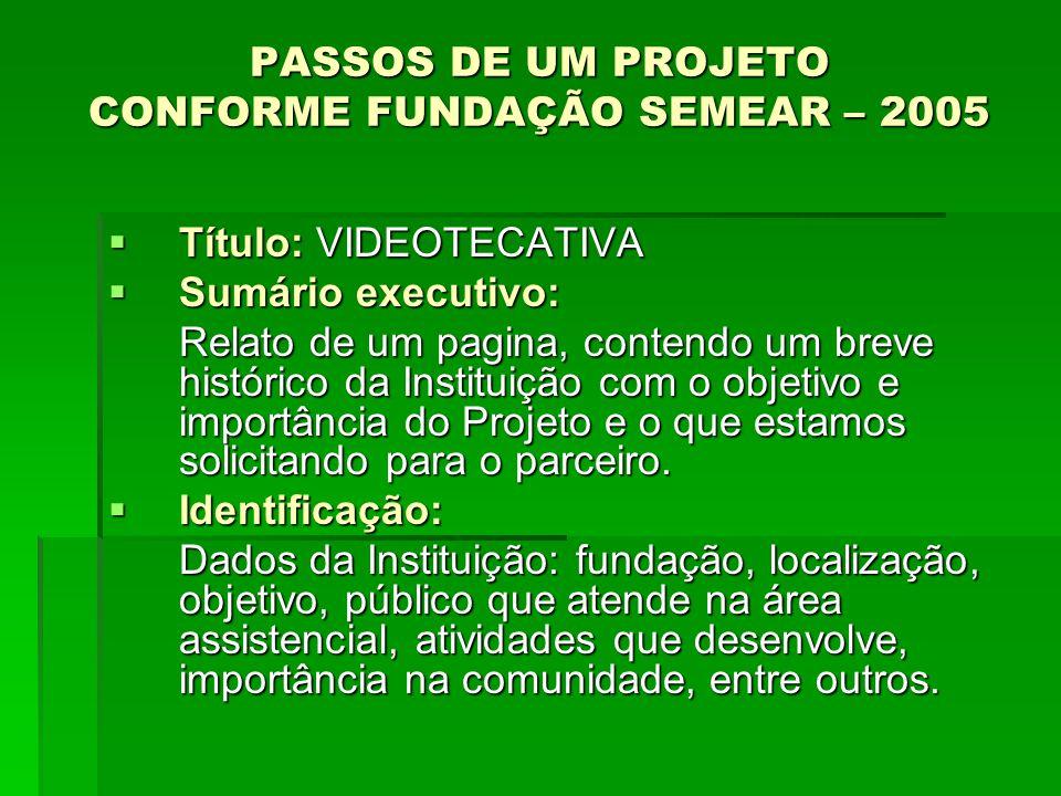 PASSOS DE UM PROJETO CONFORME FUNDAÇÃO SEMEAR – 2005