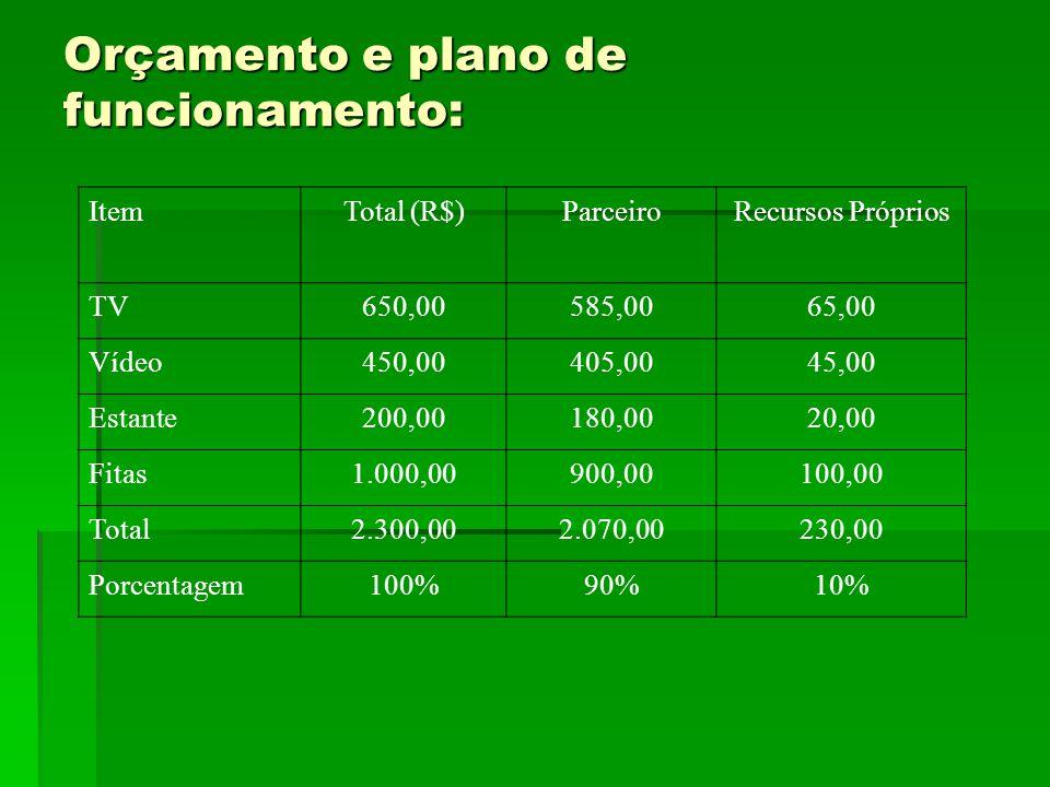 Orçamento e plano de funcionamento: