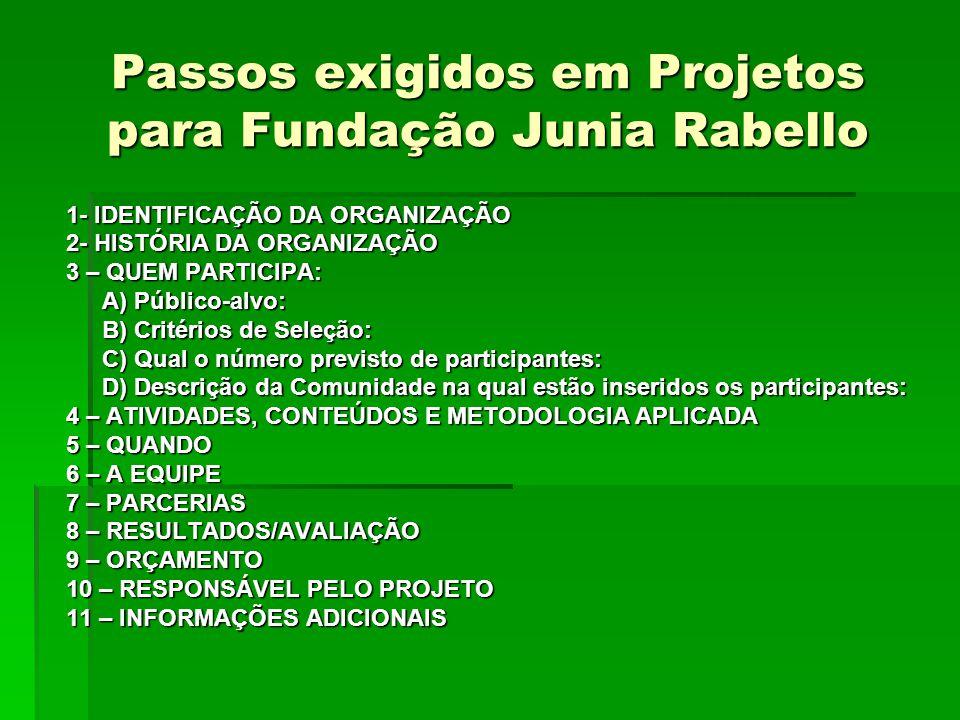 Passos exigidos em Projetos para Fundação Junia Rabello