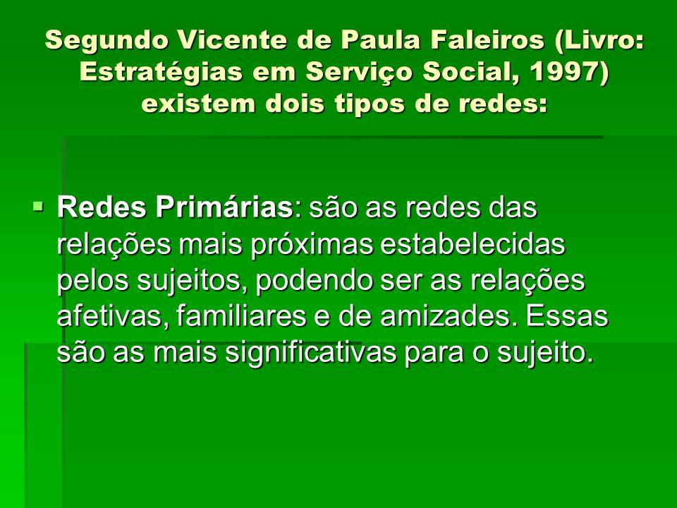 Segundo Vicente de Paula Faleiros (Livro: Estratégias em Serviço Social, 1997) existem dois tipos de redes: