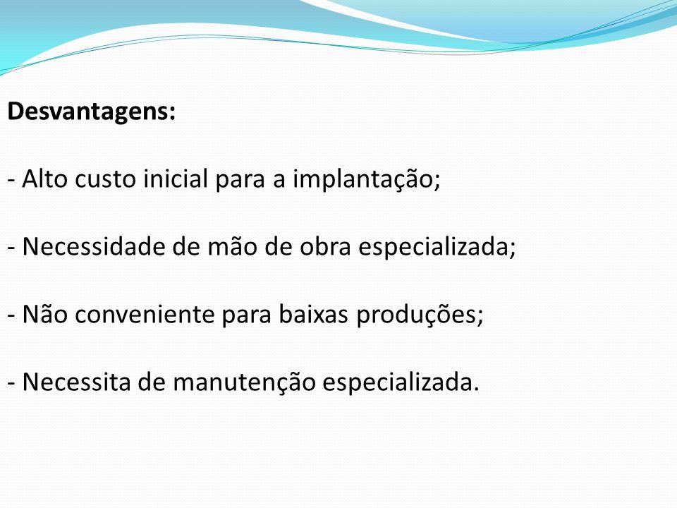 Desvantagens: Alto custo inicial para a implantação; Necessidade de mão de obra especializada; Não conveniente para baixas produções;