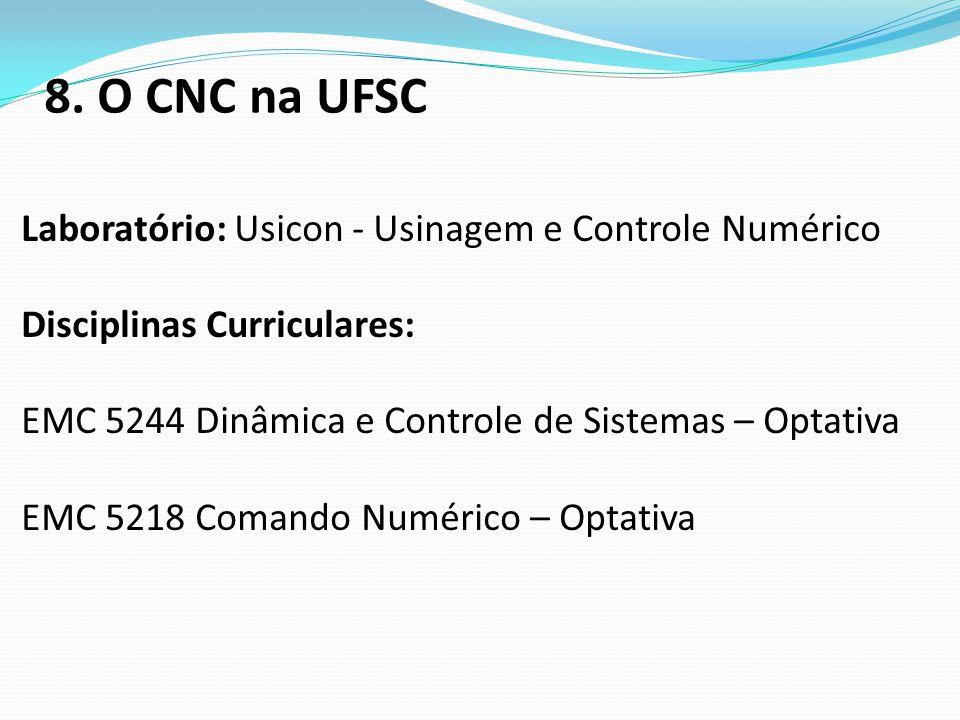 8. O CNC na UFSC Laboratório: Usicon - Usinagem e Controle Numérico
