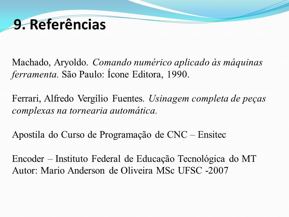 9. Referências Machado, Aryoldo. Comando numérico aplicado às máquinas ferramenta. São Paulo: Ícone Editora, 1990.