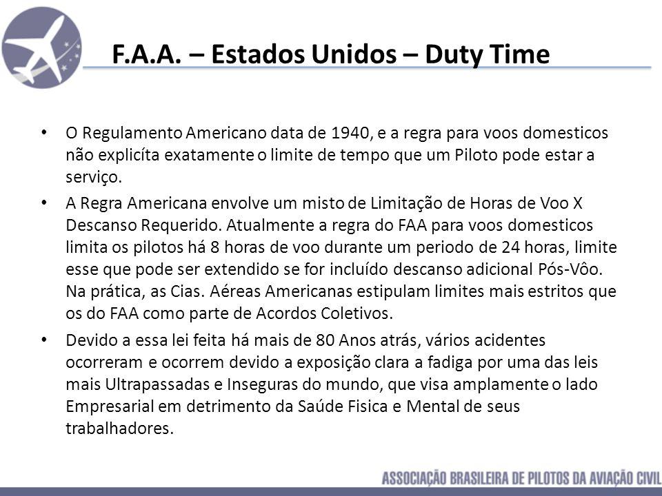 F.A.A. – Estados Unidos – Duty Time