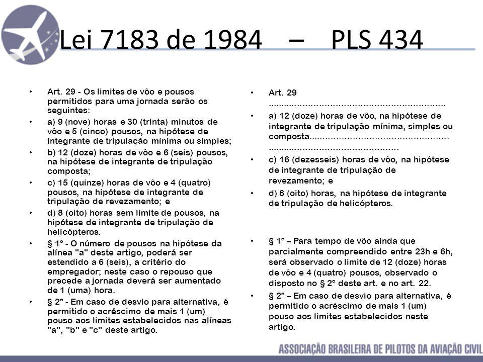 Lei 7183 de 1984 – PLS 434 Art. 29 - Os limites de vôo e pousos permitidos para uma jornada serão os seguintes: