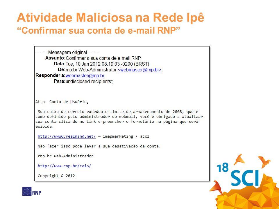 Atividade Maliciosa na Rede Ipê Confirmar sua conta de e-mail RNP