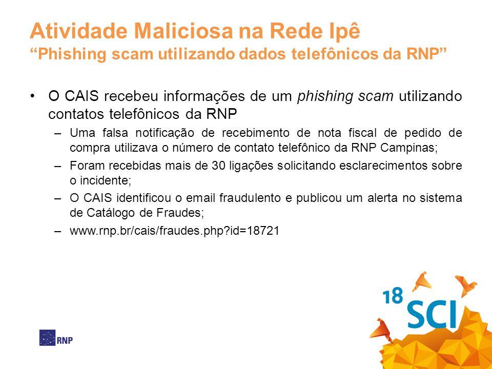 Atividade Maliciosa na Rede Ipê Phishing scam utilizando dados telefônicos da RNP