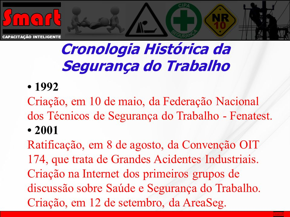• 1992 Criação, em 10 de maio, da Federação Nacional dos Técnicos de Segurança do Trabalho - Fenatest.