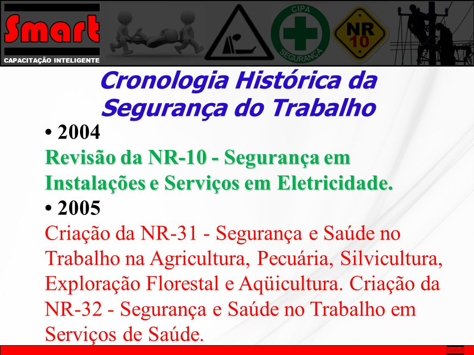 • 2004 Revisão da NR-10 - Segurança em Instalações e Serviços em Eletricidade.