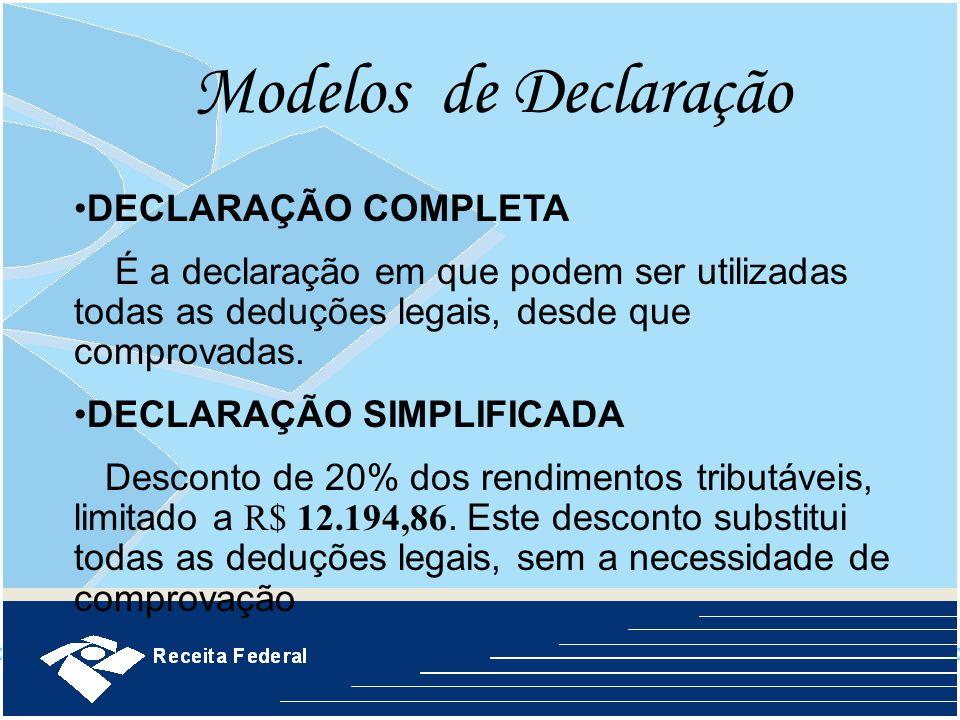 Modelos de Declaração DECLARAÇÃO COMPLETA
