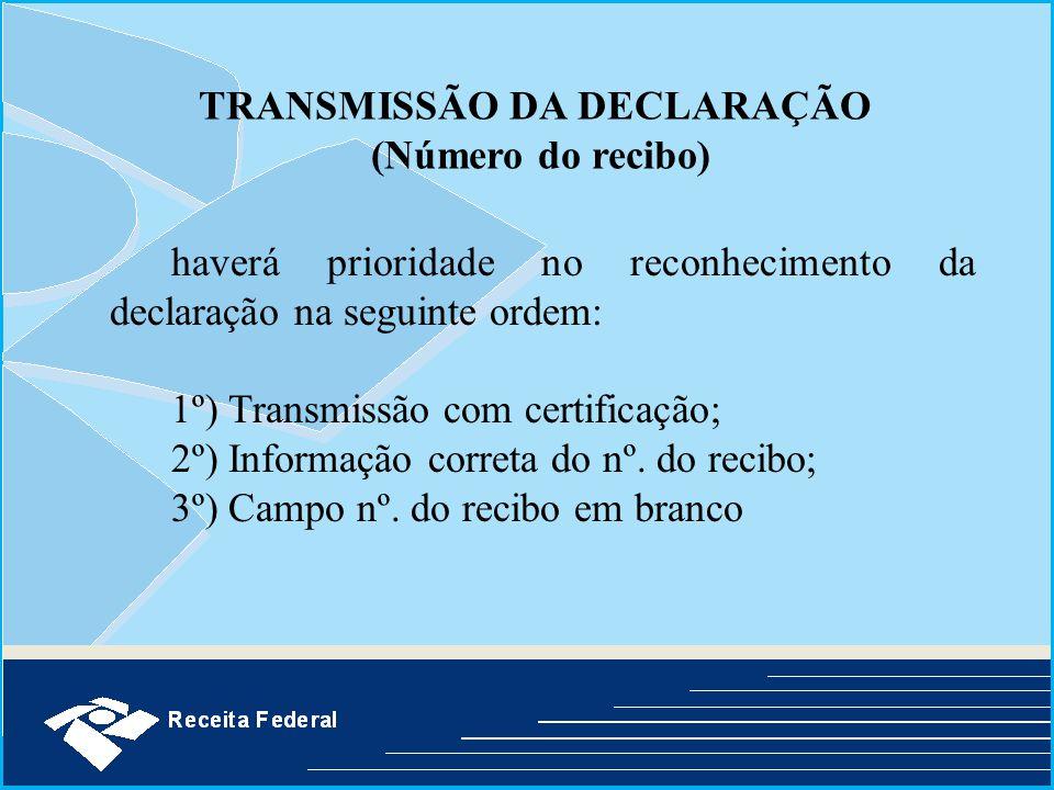 TRANSMISSÃO DA DECLARAÇÃO (Número do recibo)