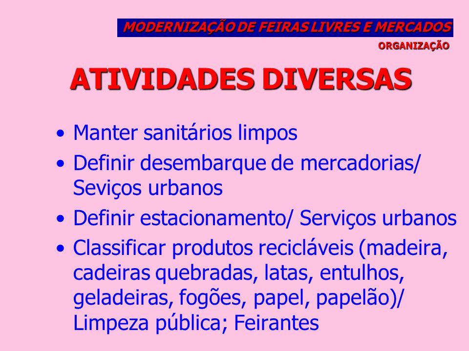 ATIVIDADES DIVERSAS Manter sanitários limpos