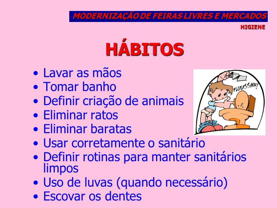 HÁBITOS Lavar as mãos Tomar banho Definir criação de animais