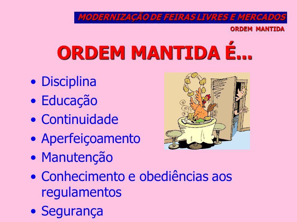 ORDEM MANTIDA É... Disciplina Educação Continuidade Aperfeiçoamento