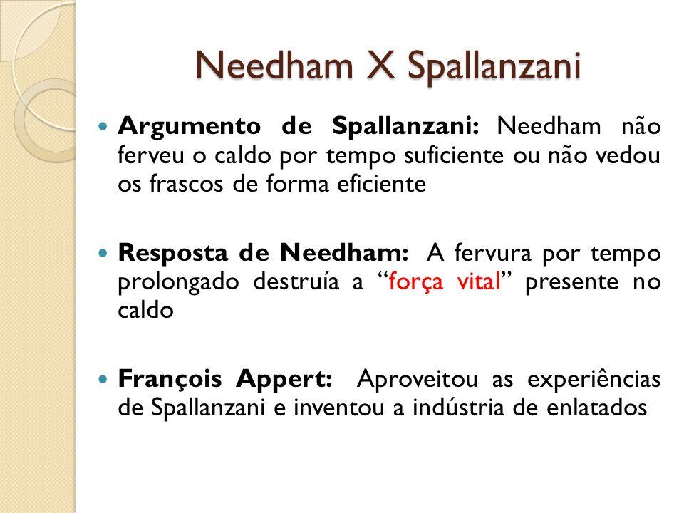 Needham X Spallanzani Argumento de Spallanzani: Needham não ferveu o caldo por tempo suficiente ou não vedou os frascos de forma eficiente.