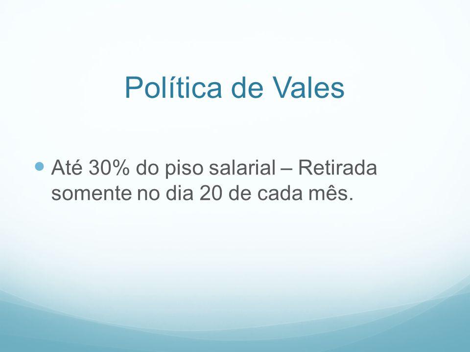 Política de Vales Até 30% do piso salarial – Retirada somente no dia 20 de cada mês.