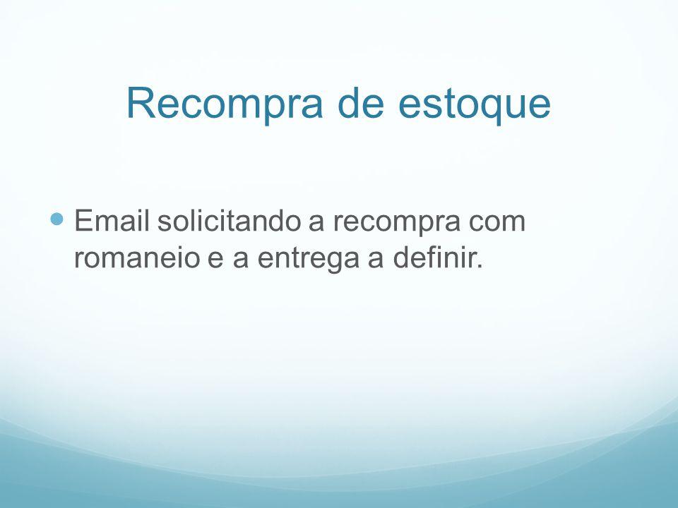 Recompra de estoque Email solicitando a recompra com romaneio e a entrega a definir.